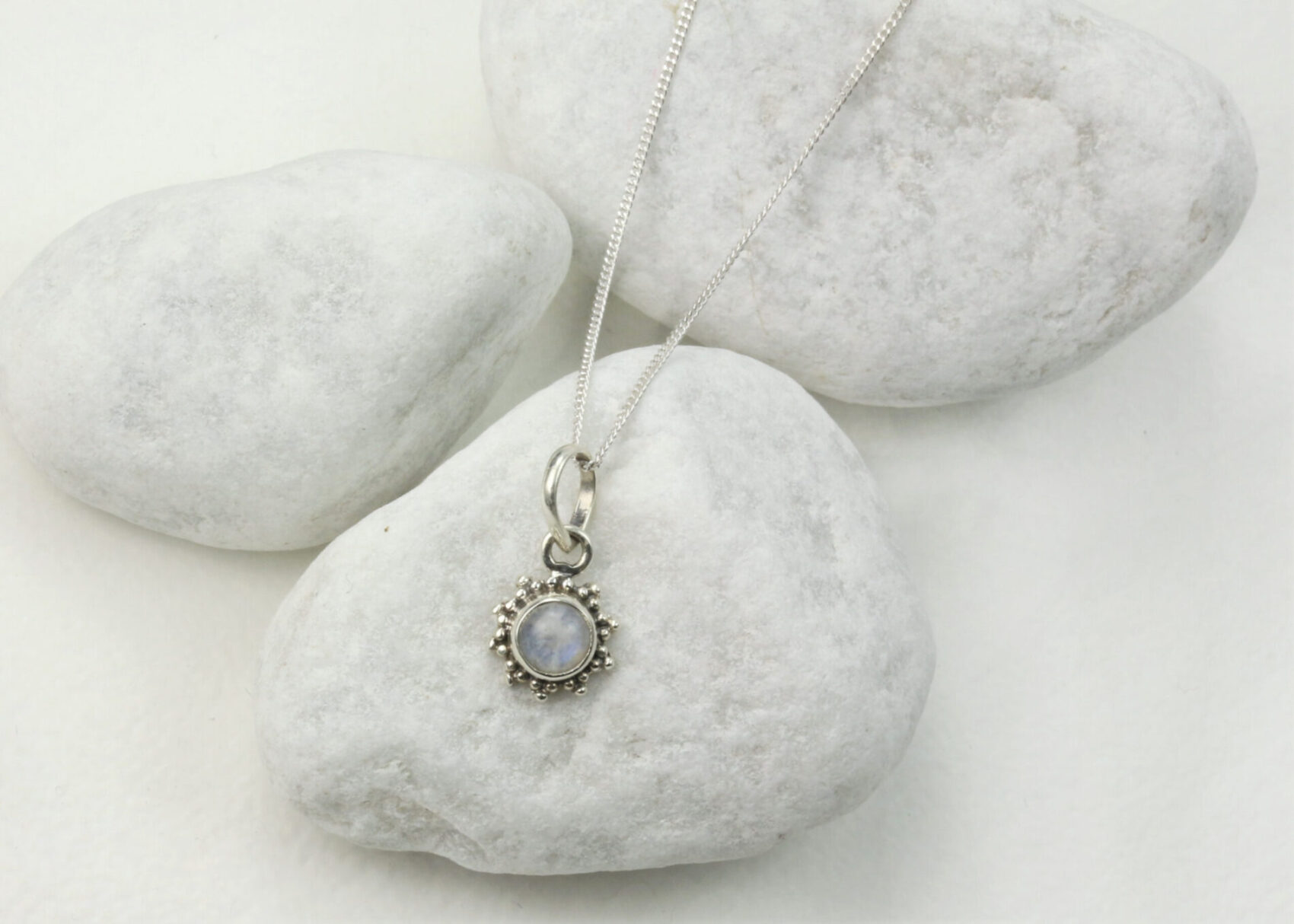 925 Sterling Silver curb chain with the 5mm Star Motif Turquoise charm necklace.